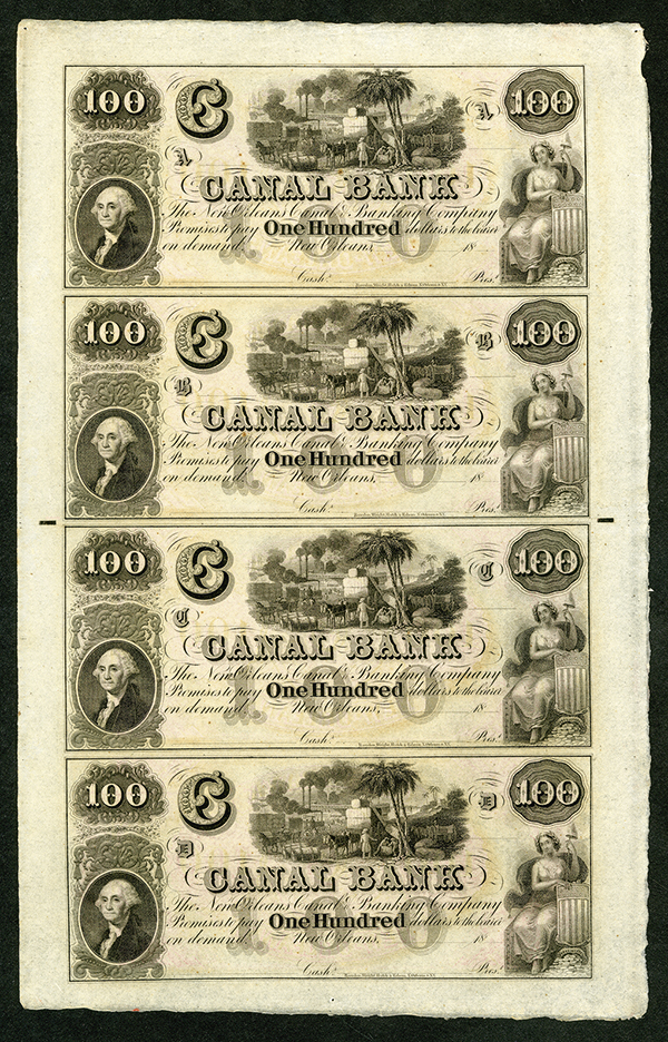 Canal Bank, ca.1840-50's Uncut Obsolete Banknote Sheet.