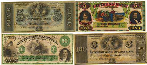 Citizens' Bank of Louisiana Banknote Quartet.