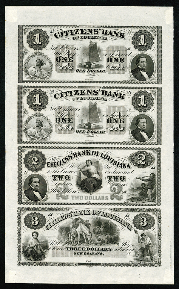 Citizens' Bank of Louisiana, ca.1850's Uncut Obsolete Banknote Sheet.