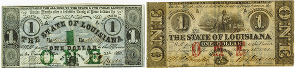 State of Louisiana 1862 Banknote Pair.