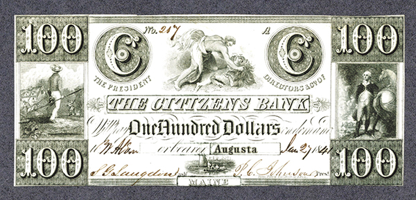 Citizens Bank, 1841 Obsolete Banknote.