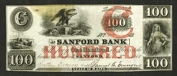 Sanford Bank, 1860 Issued Obsolete Banknote.