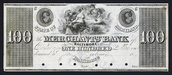 Merchants Bank, Baltimore, ca.1830's Obsolete Proof.
