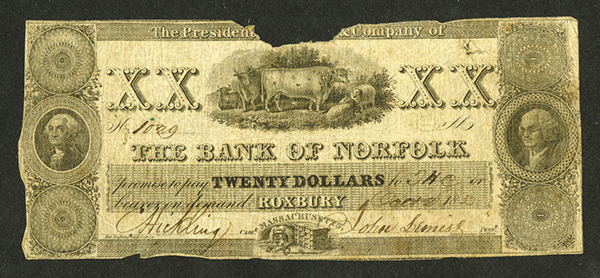 Bank of Norfolk, 1830-32 Issued Obsolete Banknote.