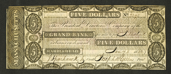 Grand Bank, 1832 Issued Obsolete Banknote.
