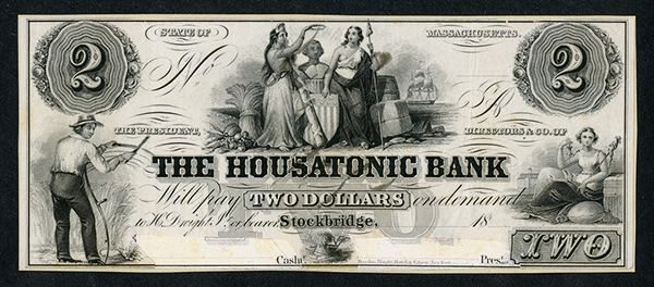 Housatonic Bank, 18xx, ca.1840-50's. Proof Obsolete Banknote.