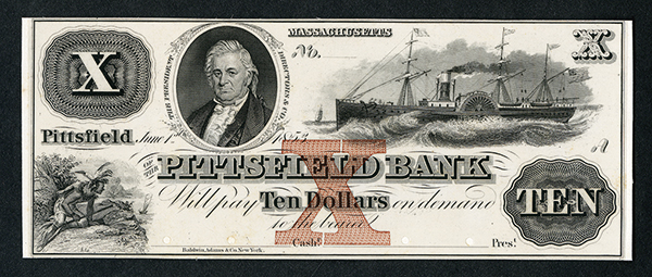 Pittsfield Bank, 1853 Proof Obsolete Banknote.