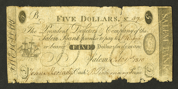 Salem Bank, 1810 Issued Obsolete Banknote.