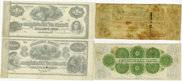 Michigan Obsolete Remainder Banknote Quartet.