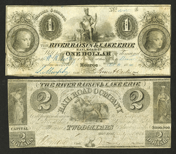 River Raisen & Lake Erie Railroad Co., 1836 & 1840 Obsolete Banknote Pair.