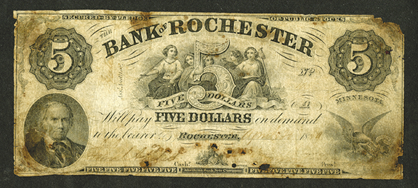 Bank of Rochester, 1859 Issued Obsolete Banknote.