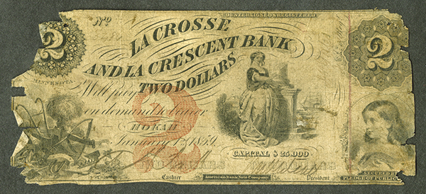 La Crosse and La Crescent Bank, 1859 Issued Obsolete Banknote.