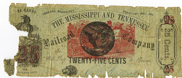 Mississippi and Tennessee Railroad Co., 1862 Scrip Note Rarity.