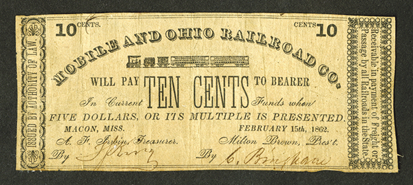 Mobile and Ohio Railroad Co.Ê1862 Scrip Note.