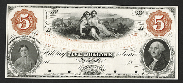 Farmers Bank of Missouri, 1857 Transition Proof Obsolete Banknote.