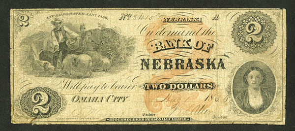 Bank of Nebraska, 1850's Issued Obsolete Banknote.