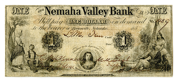 Nemaha Valley Bank, 185x Partially Issued Obsolete Banknote.