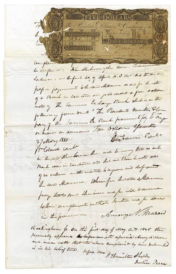 Counterfeit Obsolete Banknote Indictment with Obsolete Note mounted to document, ca.1845.