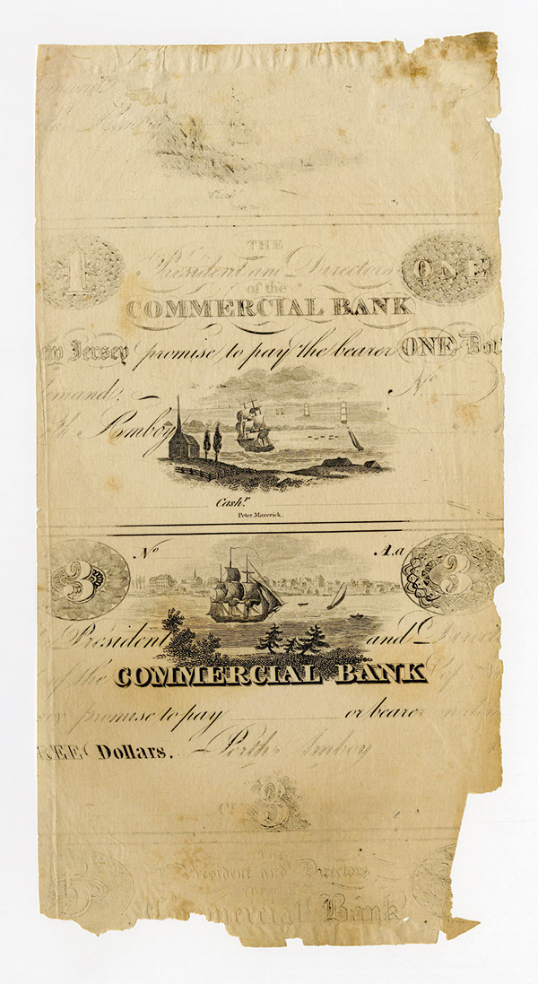 Commercial Bank of New Jersey at Perth Amboy, ca.1820's Unlisted Progress Proof Designs.