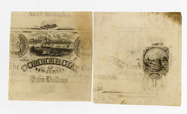 Commercial Bank of New Jersey at Perth Amboy, ca.1830-40's Unlisted Progress Proof Designs.