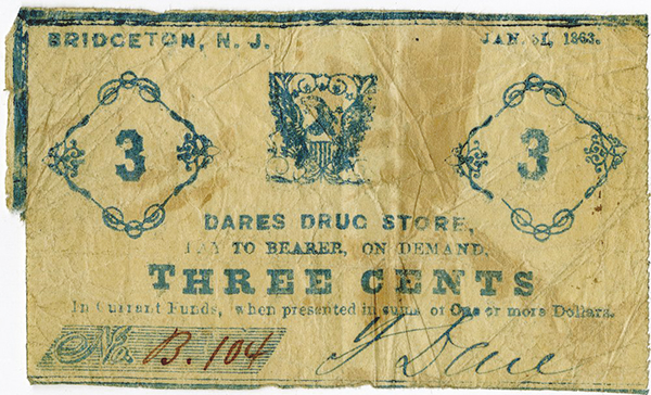 Dares Drug Store, 1863 Scrip Note.