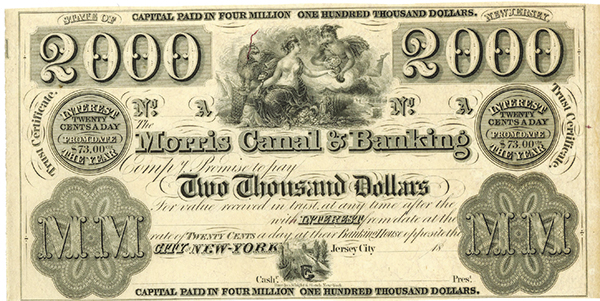 Morris Canal & Banking, ca.1830's Obsolete Banknote-Trust Certificate.