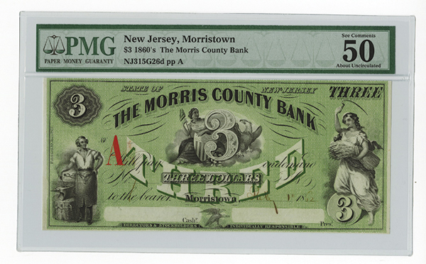 Morris County Bank $3 July 1, 1862