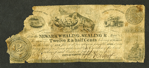 Newark Whaling, Sealing & Manufacturing Co., 1837 Scrip Note with Whaling Vignette.