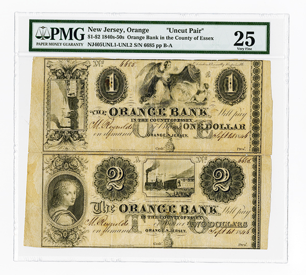 Orange Bank in the County of Essex, ca.1846 Uncut Obsolete Pair.