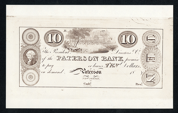 Patterson Bank Modern Reprint Proof From Original Plate.
