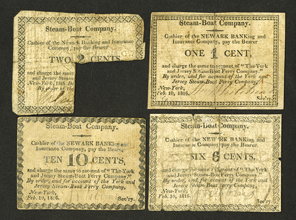 The York and Jersey Steam Boat Company, 1816 Scrip Note Collection.