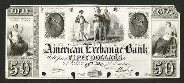 American Exchange Bank, ca.1930's (1831 written in) Proof Obsolete Banknote.
