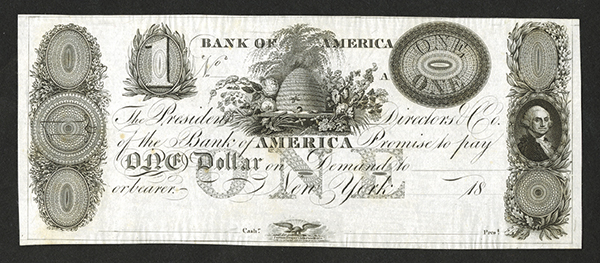 Bank of America, 18xx (ca.1820's) Proof Obsolete Banknote.
