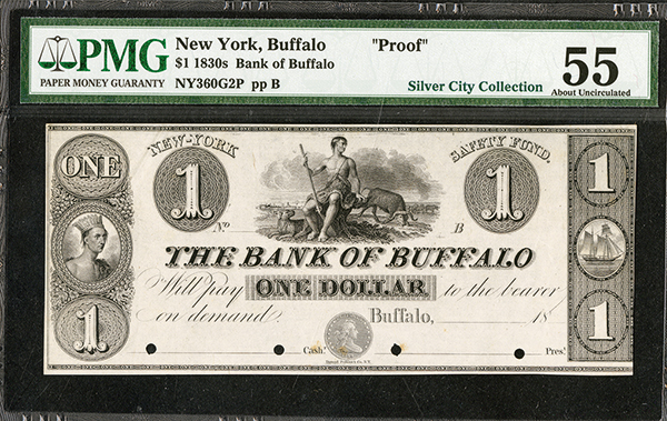 Bank of Buffalo Coin Note, ca.1830's Obsolete Proof.