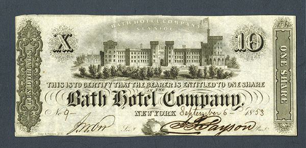 Bath Hotel Co. Seaside 1853.