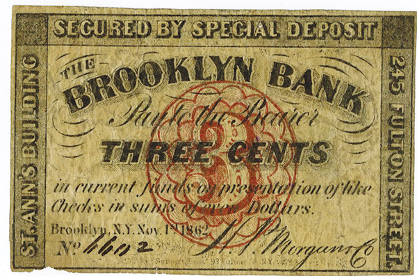 Brooklyn Bank, 1862 Obsolete Scrip Note.