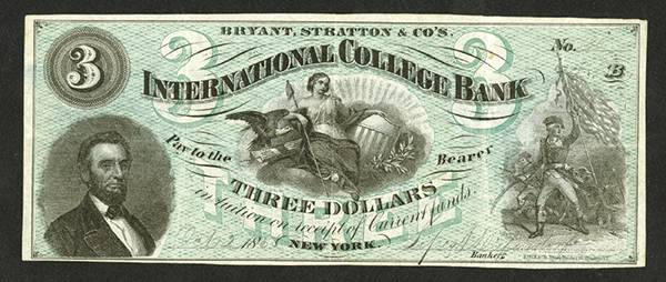 Bryant, Stratton & Co's International College Bank, 1865 College Currency Note.
