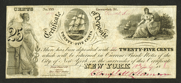 Campbell & Seaman, 1862 Obsolete Scrip Note.