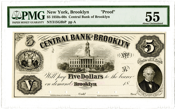 Central Bank of Brooklyn, ca.1850-60's Proof Obsolete Banknote.