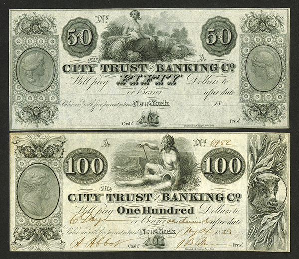 City Trust & Banking Co., 1853 Obsolete Banknote Pair.