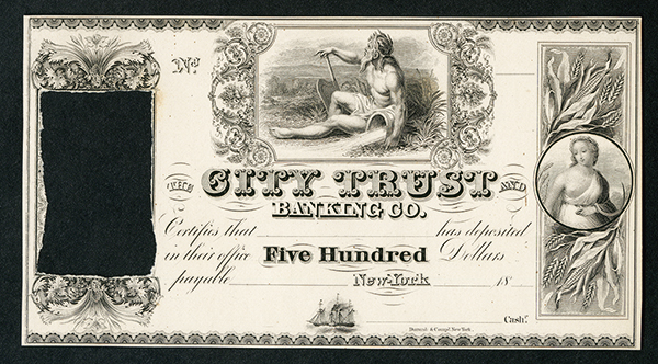 City Trust and Banking Co., Certificate of Deposit, 18xx (ca.1830-40's) Proof Banknote.