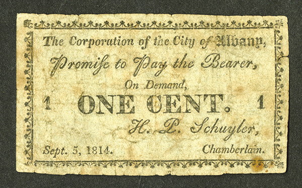 Corporation of the City of Albany, 1814 Obsolete Scrip Note.