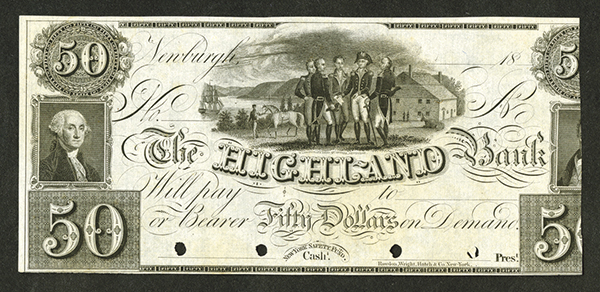 Highland Bank, 18xx (ca.1830's) Proof Banknote with Rare Washington's Headquarters , Newburgh Vignette.
