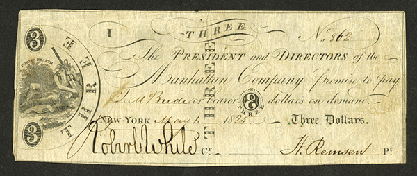 Manhattan Company, 1825 Issued Obsolete Banknote.