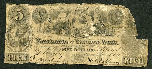 Merchants and Farmers Bank, 1850 Obsolete Banknote - SENC.