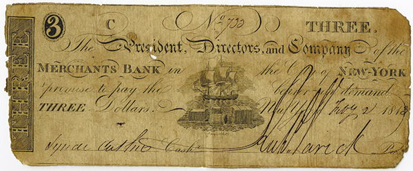 Merchants Bank, 1813 Obsolete Banknote.