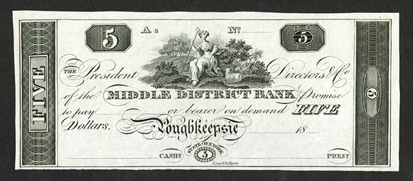 Middle District Bank, ca. 1810-30's Proof Obsolete Banknote.