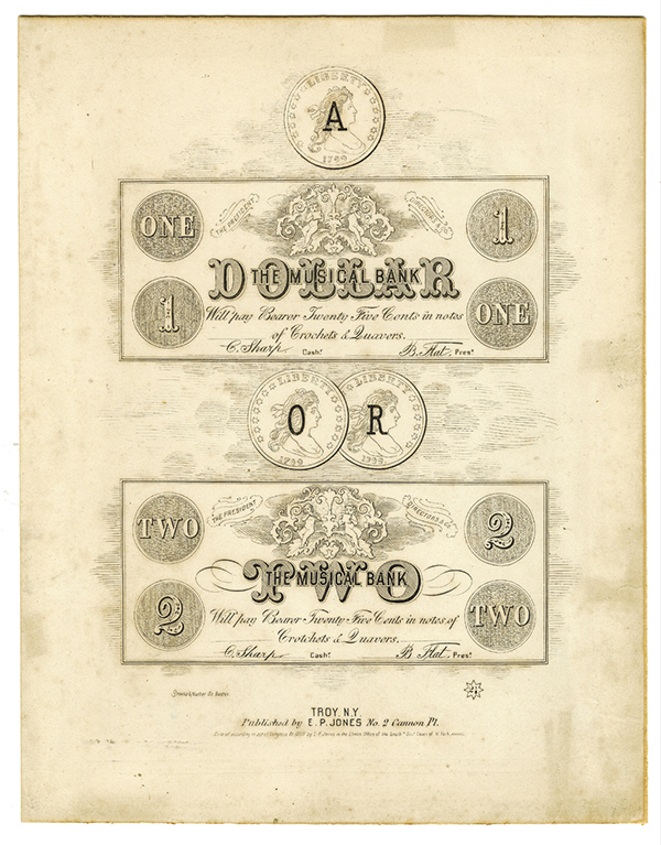 Musical Bank Facsimile of Obsolete Banknotes on Cover of Sheet Music, ca.1859.
