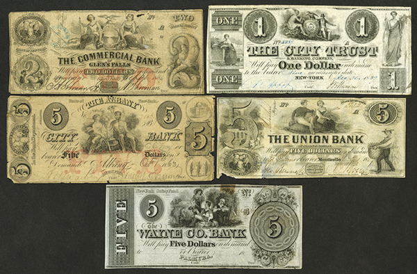 New York State Obsolete Banknote Assortment, ca. 1839-60.