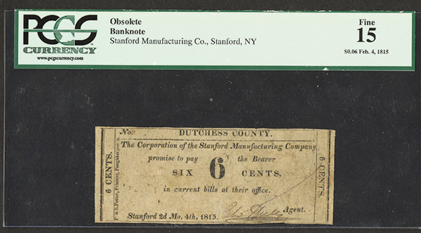 Stanford Manufacturing Co., Dutchess County 1815 Obsolete Scrip Note.